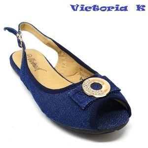 Slingback Open Toe Ballet Flats, B-2618, Dark Blue